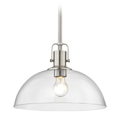 Nautical Satin Nickel Pendant Light with Clear Glass 13-Inch Wide