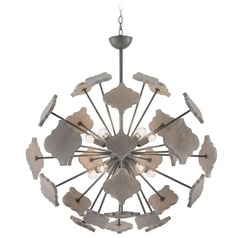 Currey and Company Jamie Beckwith Hiroshi Gray / Driftwood Gray Chandelier