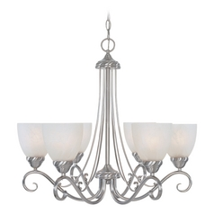 Chandelier with Alabaster Glass in Satin Platinum Finish