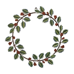 Holly Christmas Holiday Wreath Decoration