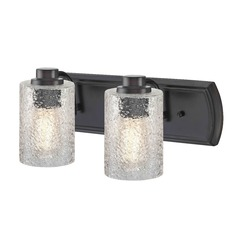 Industrial Textured Glass 2-Light Bath Wall Light in Bronze