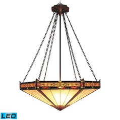 Elk Lighting Filigree Aged Bronze LED Pendant Light with Hexagon Shade