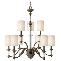 Chandelier with Beige / Cream Shades in English Bronze Finish