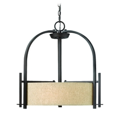 Pendant Light with Beige / Cream Shades in Regency Bronze Finish