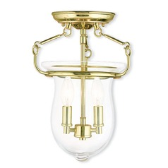 Livex Lighting Canterbury Polished Brass Semi-Flushmount Light
