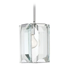 Polished Chrome Mini-Pendant Light with Rectangle Shade Bangle Collection by Savoy House