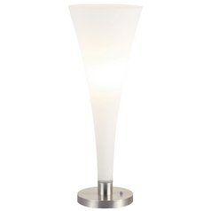 Modern Table Top Torchiere Lamp with White Glass in Satin Steel Finish