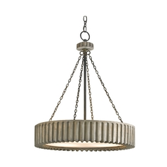 Modern Drum Pendant Light in Old Iron/washed Gray Finish