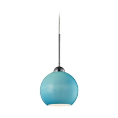 Elk Lighting Modern LED Mini-Pendant Light with Blue Glass 10240/1AQ-LED