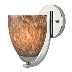 Sconce with Brown Art Glass in Chrome Finish