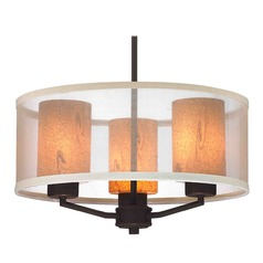 Organza Drum Pendant Light Bronze with Art Glass 3-Light
