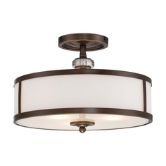 Semi-Flushmount Light with White Glass in Dark Noble Bronze Finish