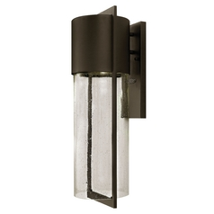 Modern Outdoor Wall Light Seeded Glass Bronze Hinkley Lighting