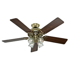 Hunter Fan Company Studio Series Bright Brass Ceiling Fan with Light
