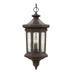 Seeded Glass LED Outdoor Hanging Light Bronze 27.5-Inches Tall by Hinkley Lighting