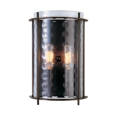 Modern Sconce Wall Light with Clear Glass in Old Bronze Finish