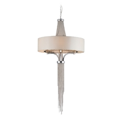 Modern Drum Pendant Lights in Polished Chrome Finish