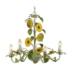 Sunflower Chandelier in Cream Finish with Four Lights