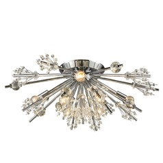 Mid-Century Modern Crystal Semi-Flushmount Cluster Light Chrome Starburst by Elk Lighting