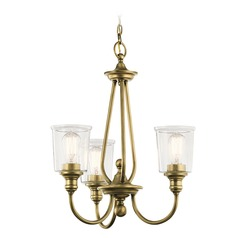 Seeded Glass Chandelier Brass Kichler Lighting
