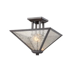 Mercury Glass Square Semi-Flushmount Light Iron Rust Elk Lighting