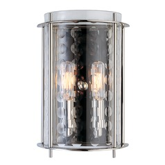 Modern Sconce Wall Light with Clear Glass in Polished Nickel Finish