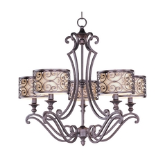 Chandelier with Beige / Cream Shades in Umber Bronze Finish