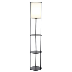 Modern Floor Lamp with White Shade in Black Finish
