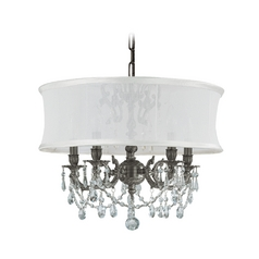 Crystal Mini-Chandelier with White Shade in Pewter Finish