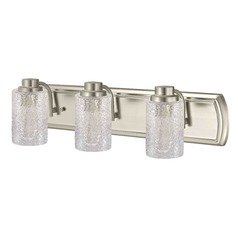 Industrial Textured Glass 3-Light Bathroom Light in Satin Nickel
