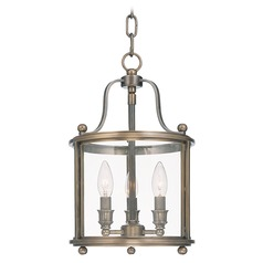 Modern Pendant Light with Clear Glass in Distressed Bronze Finish