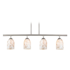 Island Light with Beige / Cream Glass in Satin Nickel Finish
