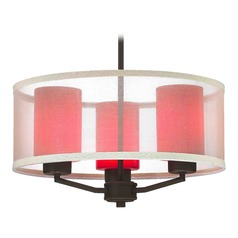 Organza Drum Pendant Light Bronze with Red Glass 3-Light