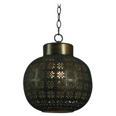 Kenroy Home Lighting Seville Aged Bronze Mini-Pendant Light with Globe Shade