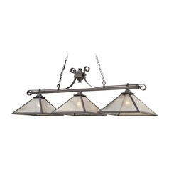 Elk Lighting Plano Iron Rust Billiard Light with Square Shade