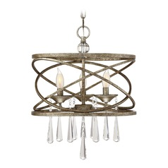 Gold Pendant Light with Drum Shade Trumbull Collection by Savoy House