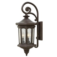 Seeded Glass LED Outdoor Wall Light Bronze 25.75 Inches Tall by Hinkley Lighting