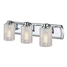 Industrial Textured Glass 3-Light Vanity Light in Chrome