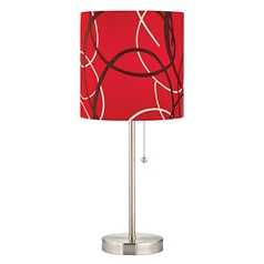 Satin Nickel Pull-Chain Table Lamp with Red Pattern Drum Shade
