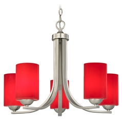 Modern 5-Light Chandelier with Red Glass in Satin Nickel