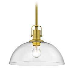 Nautical Brass Pendant Light with Clear Glass 13-Inch Wide