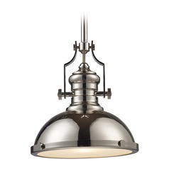 Elk Lighting Chadwick Polished Nickel LED Pendant Light with Bowl / Dome Shade