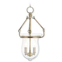 Livex Lighting Canterbury Antique Brass Mini-Pendant Light with Bowl / Dome Shade
