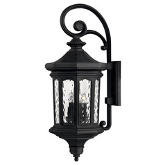 Black LED Outdoor Wall Light with Water Glass by Hinkley Lighting