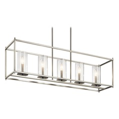 Modern Linear Chandelier Brushed Nickel Crosby by Kichler Lighting