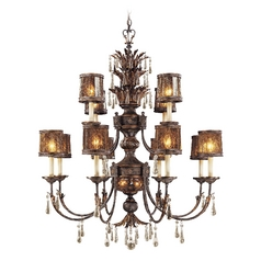 Chandelier with Brown Glass in Sanguesa Patina Finish