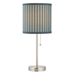 Pull-Chain Table Lamp with Blue / Grey Striped Drum Shade