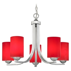 Chrome Chandelier with Red Glass Cylinder Shades and Five-lights