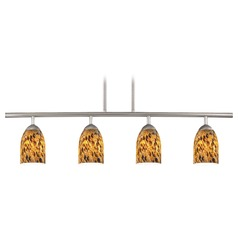 Design Classics Lighting Modern Island Light with Brown Glass in Satin Nickel Finish 718-09 GL1005D