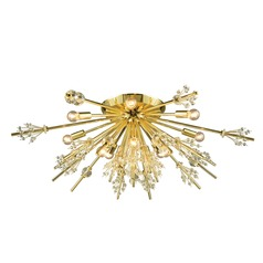Mid-Century Modern Crystal Semi-Flushmount Cluster Light Gold Starburst by Elk Lighting